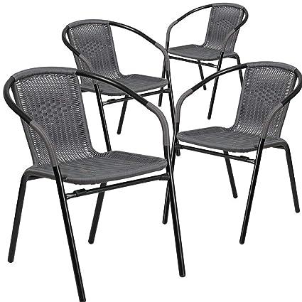 Excellent Amazon Com Simple Interior Stacking Patio Dining Chair Set Spiritservingveterans Wood Chair Design Ideas Spiritservingveteransorg