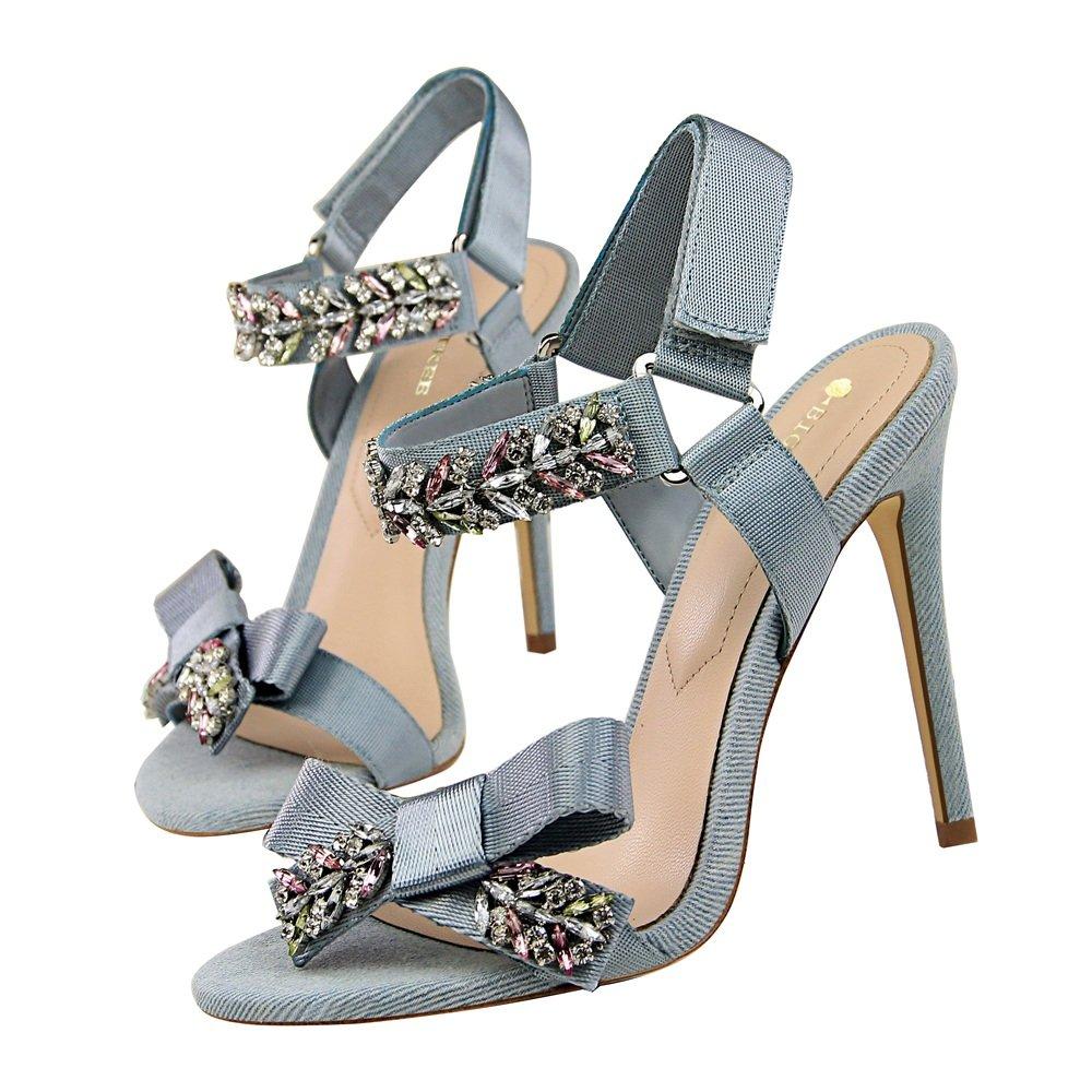 BFMEI High Sommer, sexy, Bankett, High BFMEI Heels, feine Heels, glänzende Strasssteine, Schleifen, Schleife, Sandalen, weiblich Sky Blau 40cabc