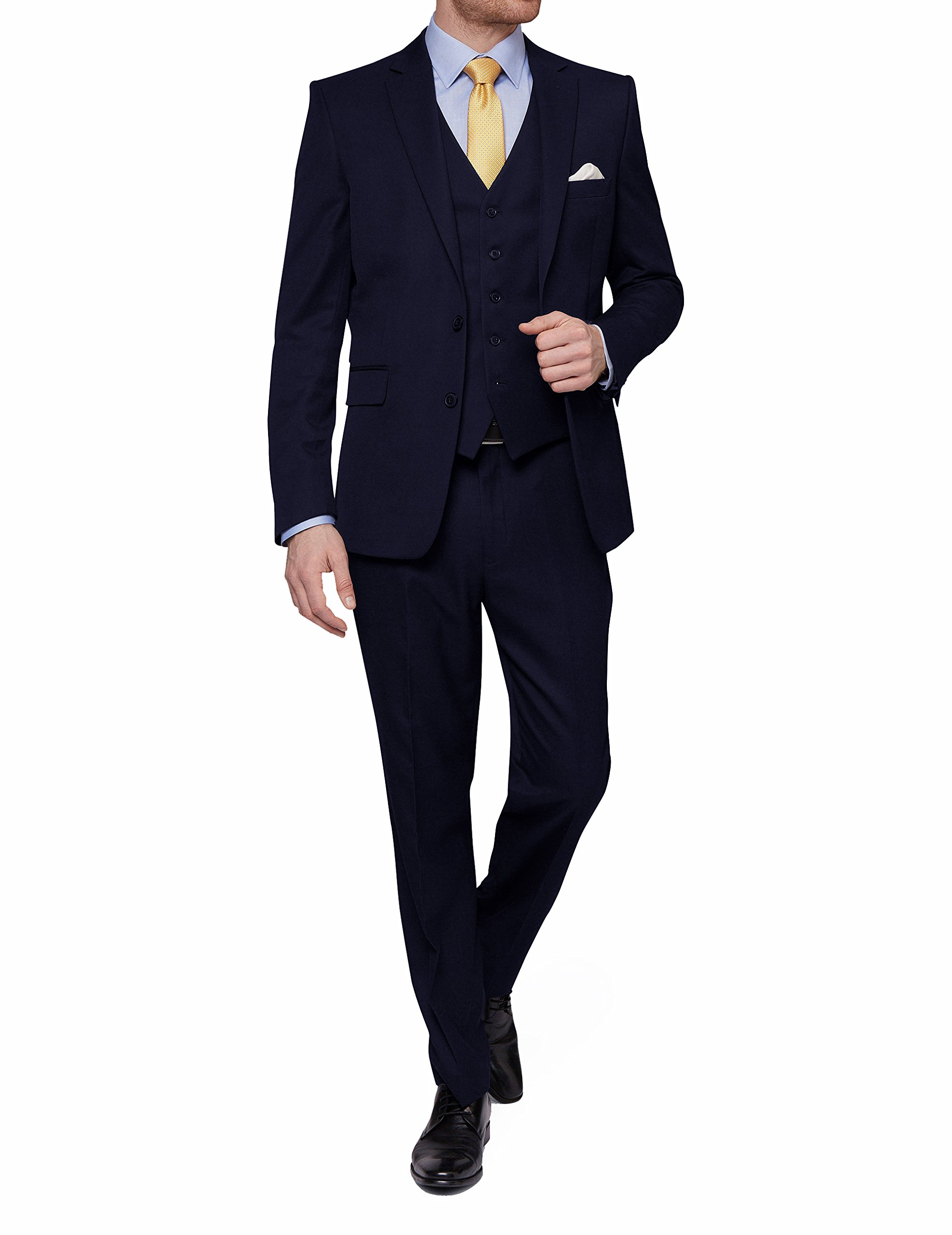 MDRN Uomo Mens Slim Fit 3 Piece Suit, Navy, Size 44Sx38W