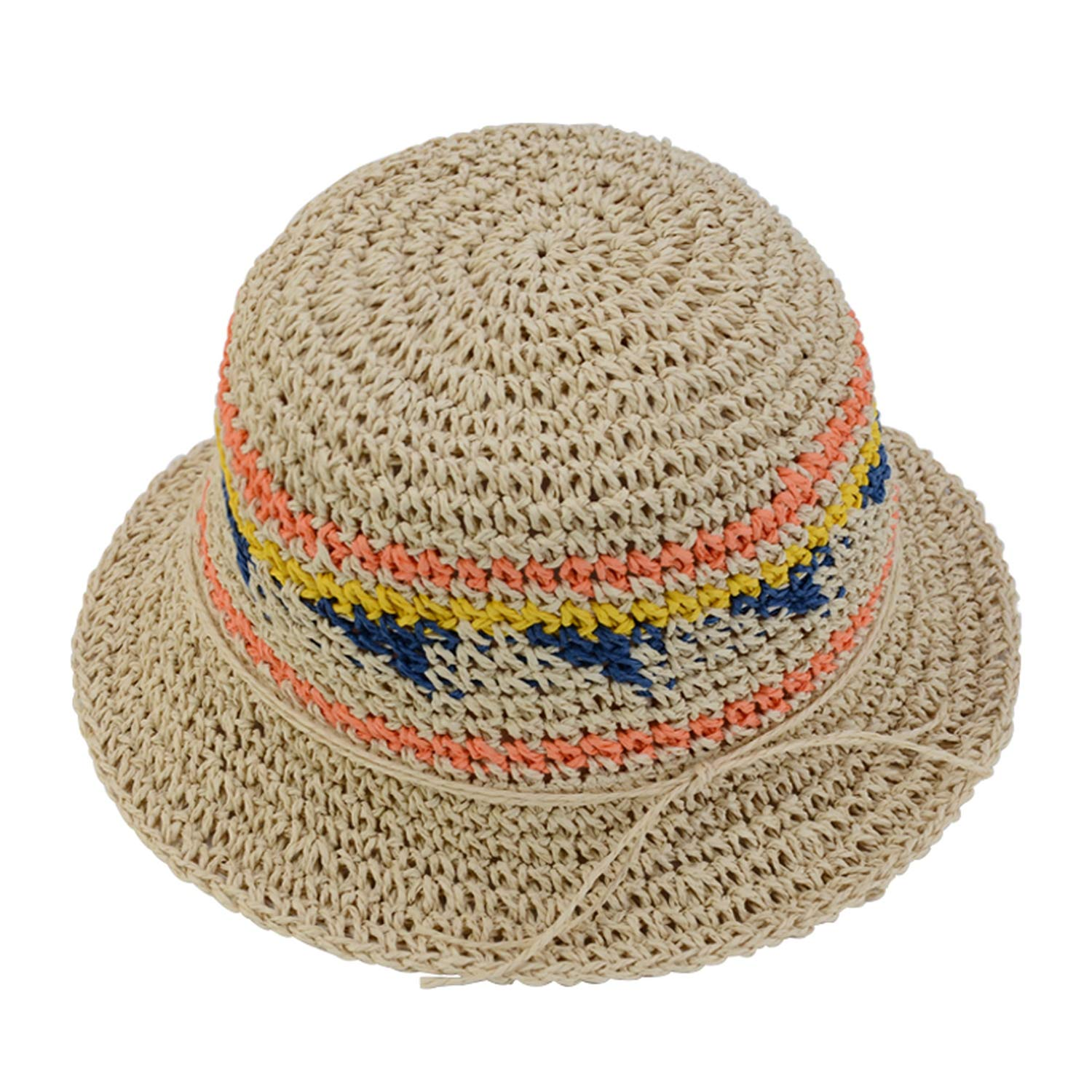 Summer Hats for Women Colorful Straw Hat Bucket Hat Beach Panama Cap Vacation Holiday Travel Bohemian Style