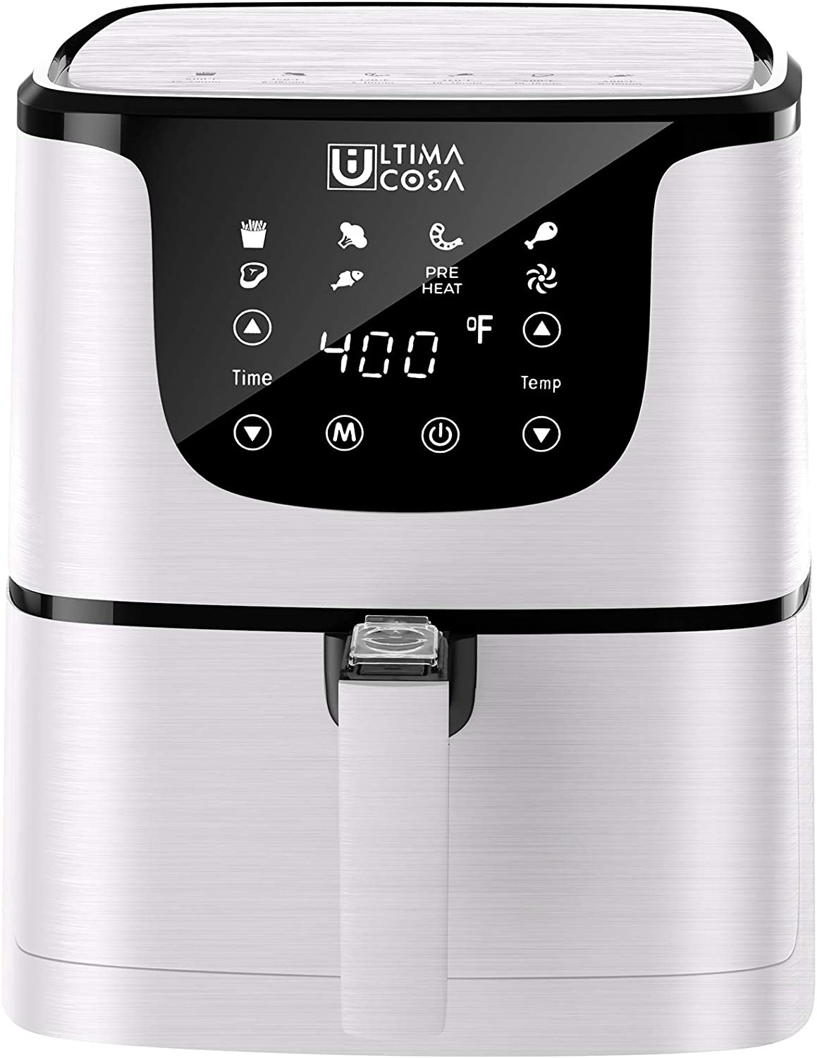 Ultima Cosa Air Fryer, 5.8QT Oil Free XL Electric Hot Air Fryers Oven, Programmable 7-in-1 Cooker with Preheat & Dryout, Equipped Digital Touchscreen and Nonstick Basket, English and French Manual , 1700W (WHITE)