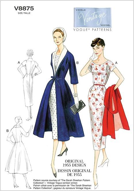Vtg 50s Fit Flared Princess Seam Shawl Collar Coats Sewing Pattern 6 8 10 12 14