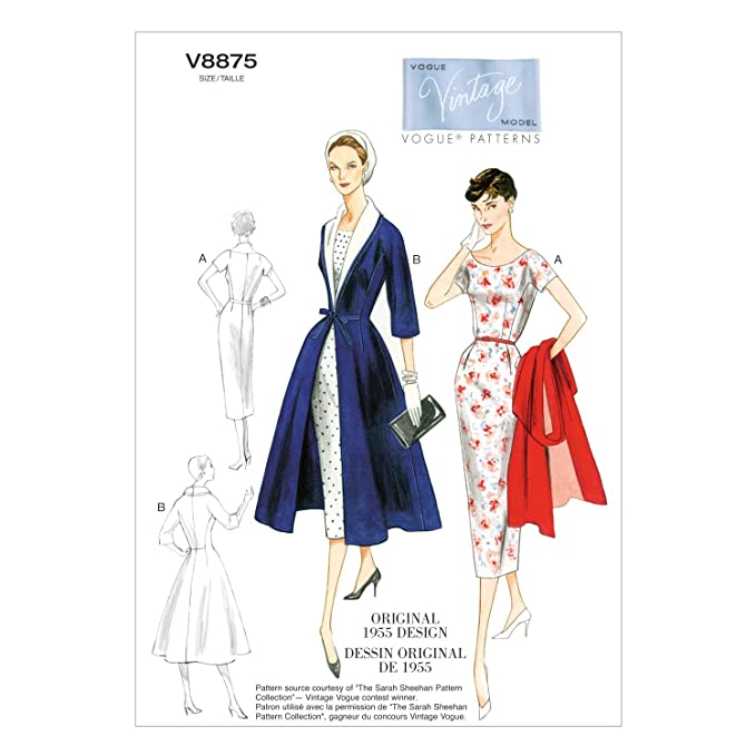 1950s Sewing Patterns | Dresses, Skirts, Tops, Mens 1955 Vogue Patterns V8875 Misses Dress/Belt/Coat and Detachable Collar Sewing Template Size B5 (8-10-12-14-16) $17.90 AT vintagedancer.com
