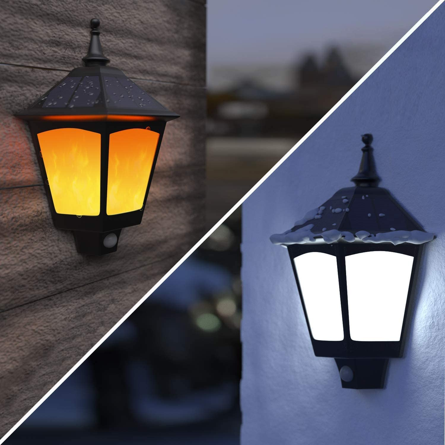 Amazon Com Solar Lights Outdoor Decorative Aloveco 2 In 1 Solar Wall Sconce Solar Torch Lights With Flickering Flame 87 Leds Solar Motion Case Of 2 Packs Home Improvement