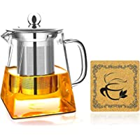 AckMond 350 ml Clear Glass Teapot with Heat Resistant Stainless Steel Infuser and Coaster, for One Person