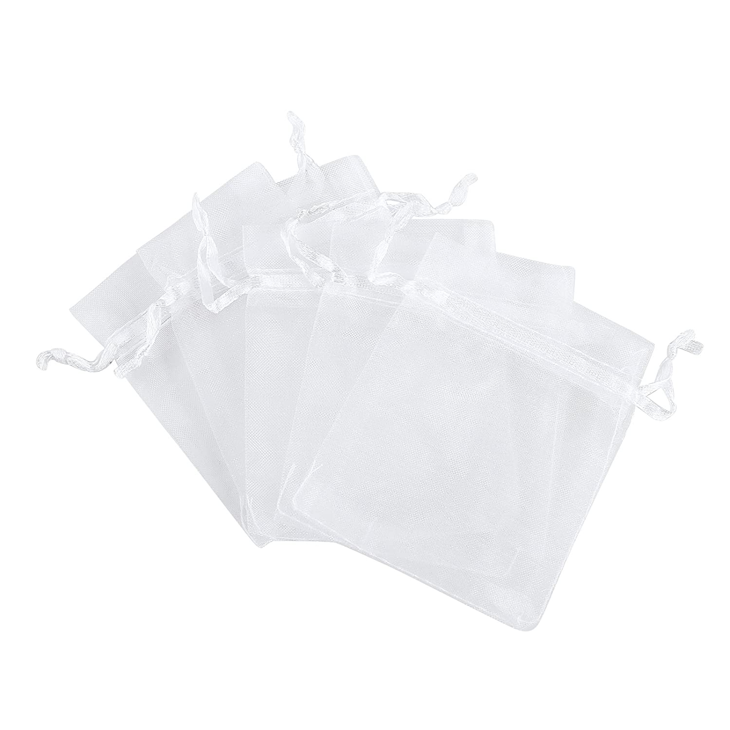 Anleolife 60pcs White Organza Bags 6x9 inch Large Gift Bags Wedding Favors Candy Mesh Pouches Samples Pamphlets Goodies Packages (white)