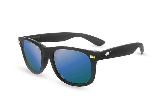 Pegaso City, Gafas de Sol Unisex, Negro/Espejo Azul Revo, 55
