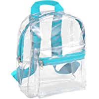 Water Resistant Clear Mini Backpacks for School, Beach - Stadium Approved Bag with Adjustable Straps (Aqua)