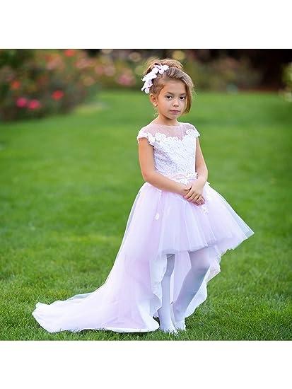 Amazon Little Girls Pink White Asymmetric Tulle Train Latoya