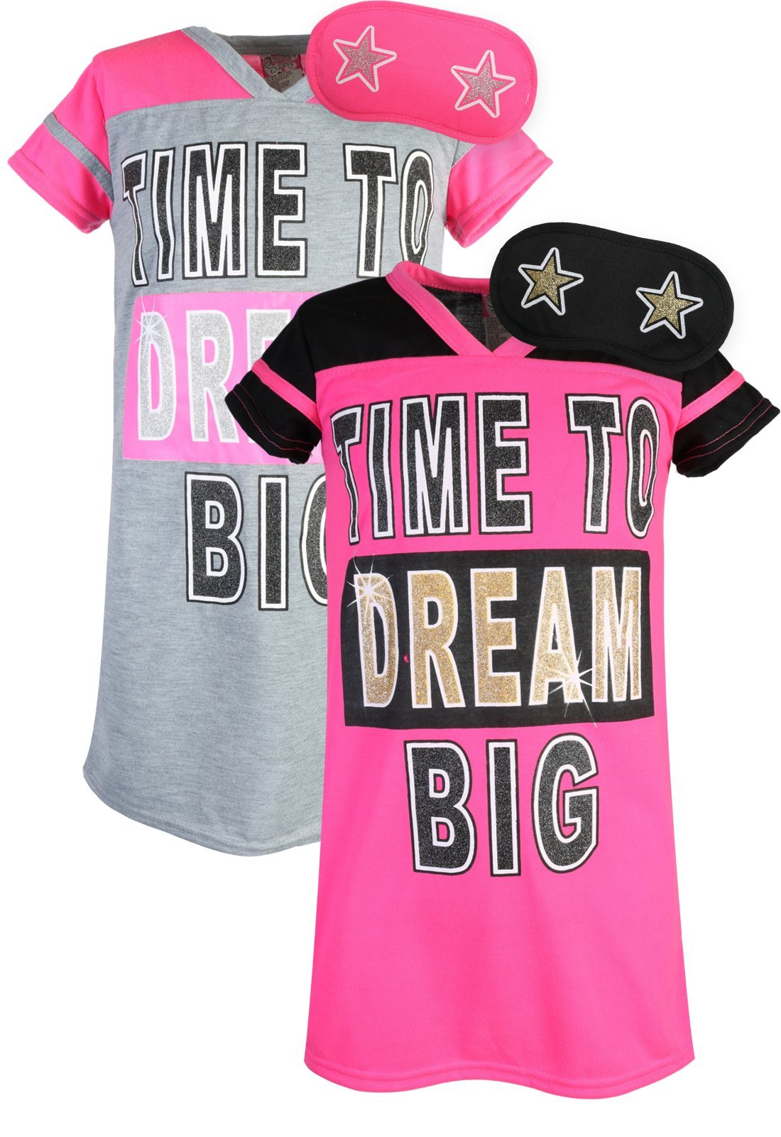 Sweet & Sassy Girls Short Sleeve Nightgown Pajama with Eye Mask (2 Pack) Dream Big, Size 10'