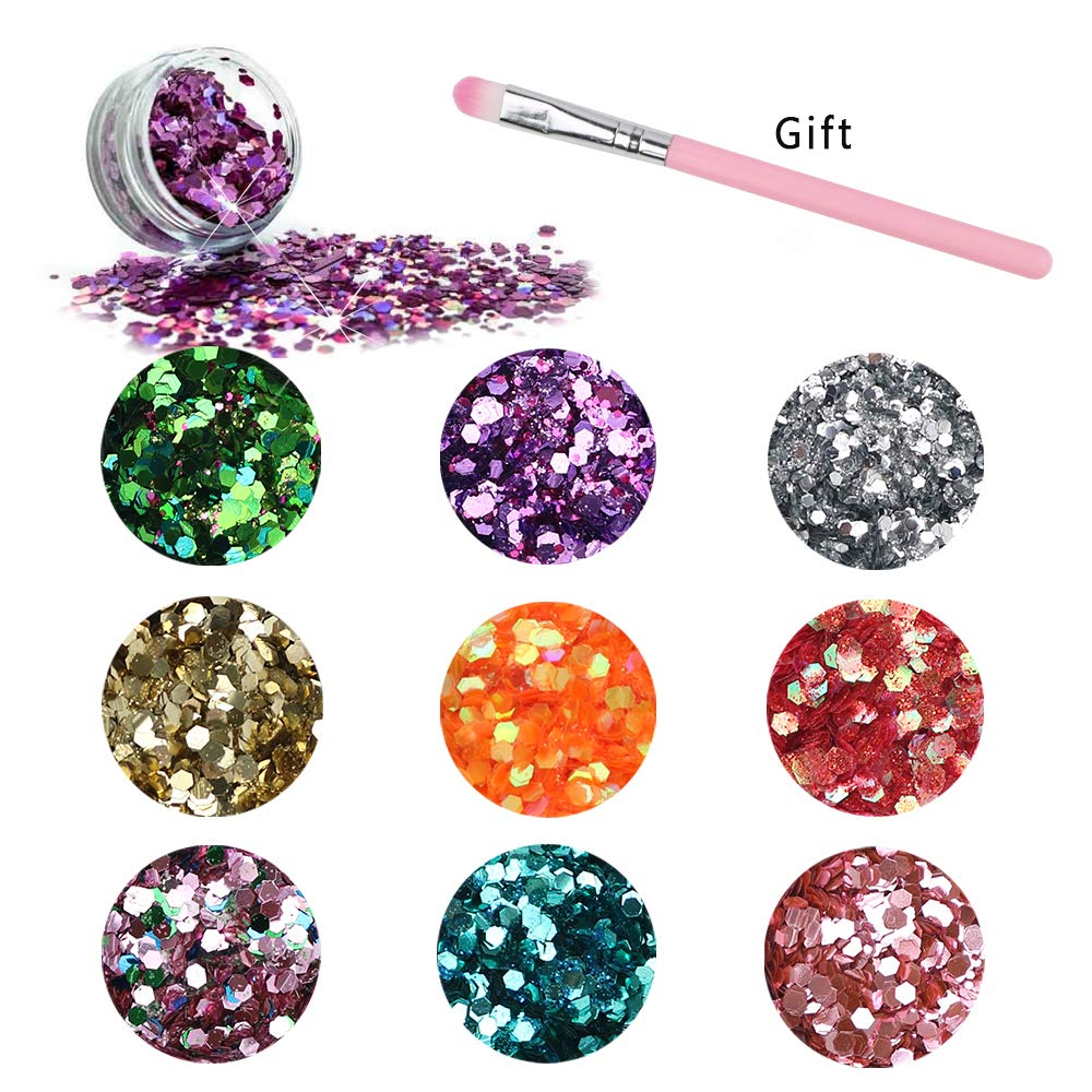 G-TASTE Beauty Makeup Body Glitter Gel Glitter for Face Eyeshadow Festival Makeup Hair Glitter (9 Color Dry)