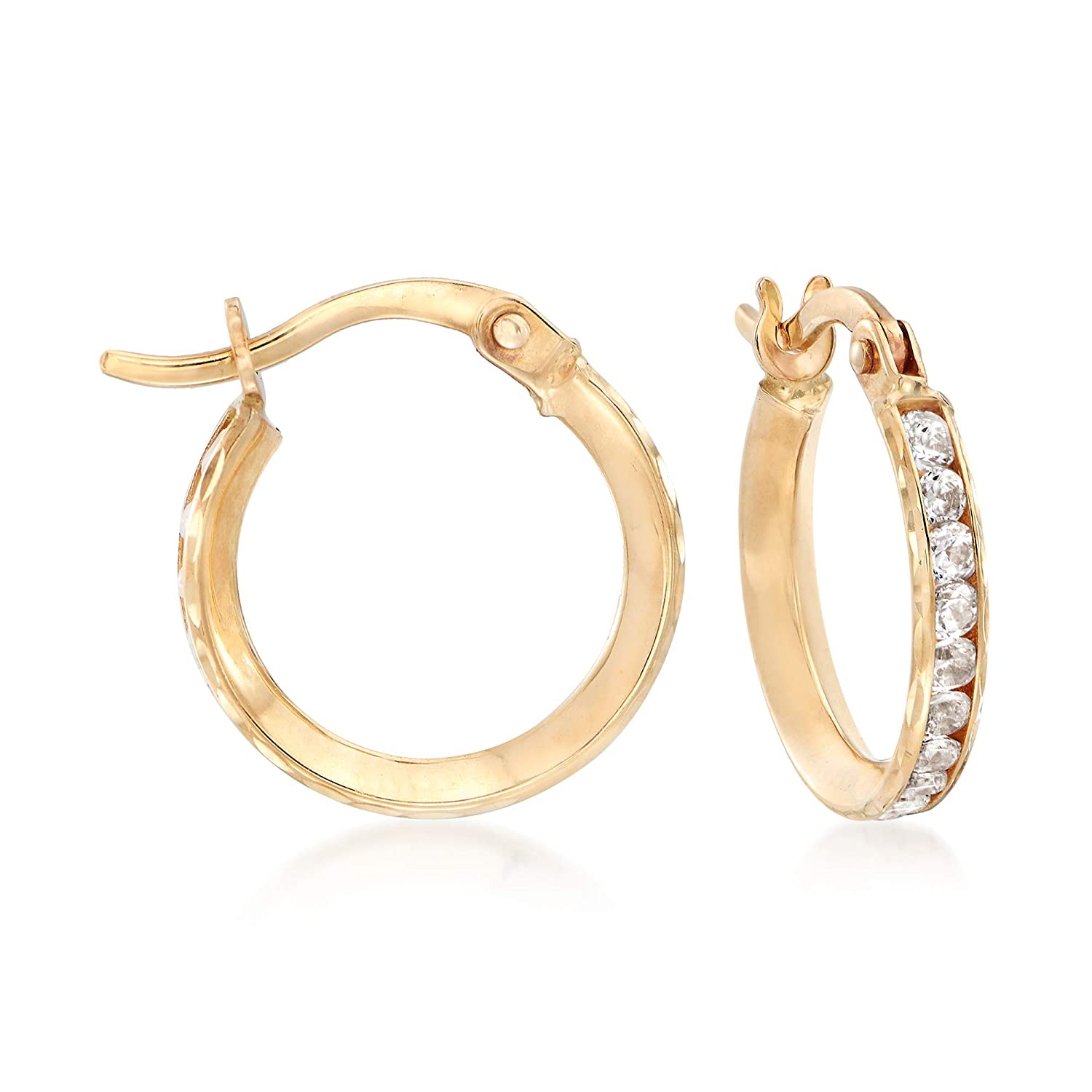 t.w CZ Hoop Earring Set Of 2 in 14kt Yellow Gold 3//8-1//2 Ross-Simons Mom /& Me 1.15 ct