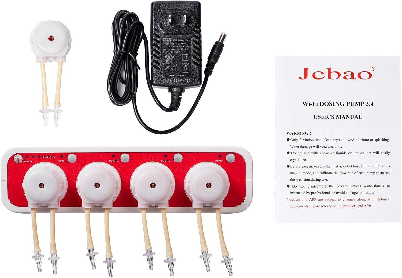 White Jebao Doser 3.4 WiFi 4-Channel Auto Dosing Pump for Saltwater Reef Aquarium Doser3.4