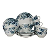 Deals on Elama Traditional Blue And White 16 Piece Dinnerware Set