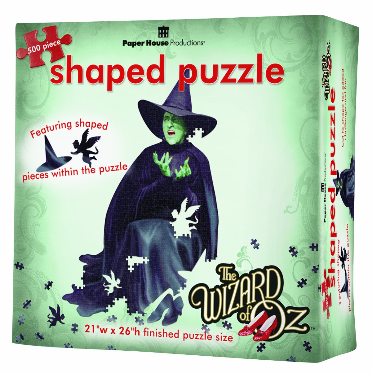 Paper House Productions Jigsaw Shaped Puzzle 21 by 26-Inch, The Wizard of Oz - Wicked Witch (500 Pieces)