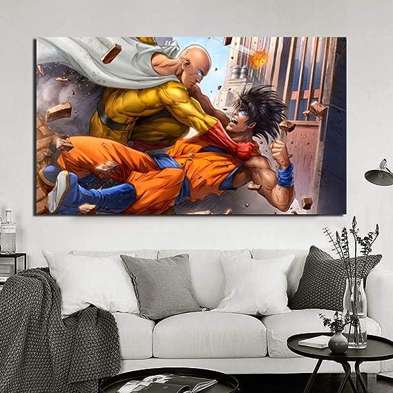 tzxdbh One Punch Man VS Goku Anime Japanese Cartoon HD Canvas ...