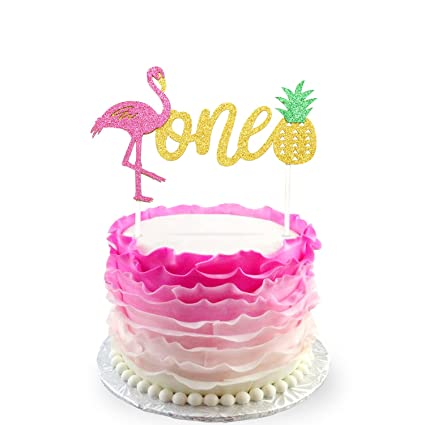 Flamingo Pineapple 1st First Birthday Cake Toppers Decoration Glitter One Tropical Hawaiian Luau Themed Party Supplies