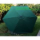 "BELLRINO DECOR Replacement Hunter Green "" STRONG & THICK "" Umbrella Canopy for 9ft 6 Ribs (Canopy Only)"