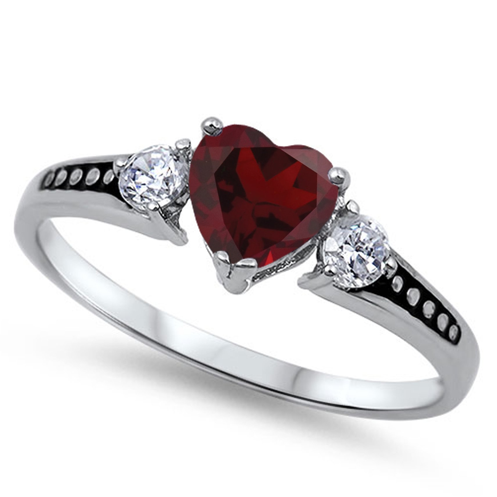 925 Sterling Silver Round Faceted Natural Genuine Red Ruby Heart Promise Ring Size 7