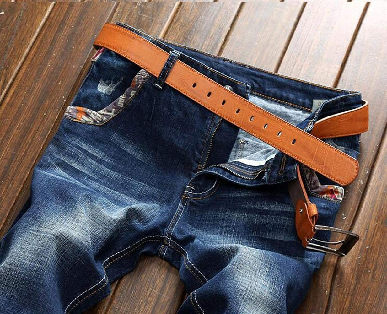 YRHDC Mens Hole Stretch Straight Jeans Leisure Slim Fit Skinny Denim Trousers Cotton Pants