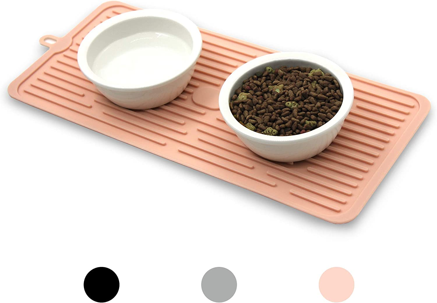 Ptlom Pet Placemat for Dog and Cat, Mat for Prevent Food and Water Overflow, Suitable for Medium and Small Pet, Pink, Silicone