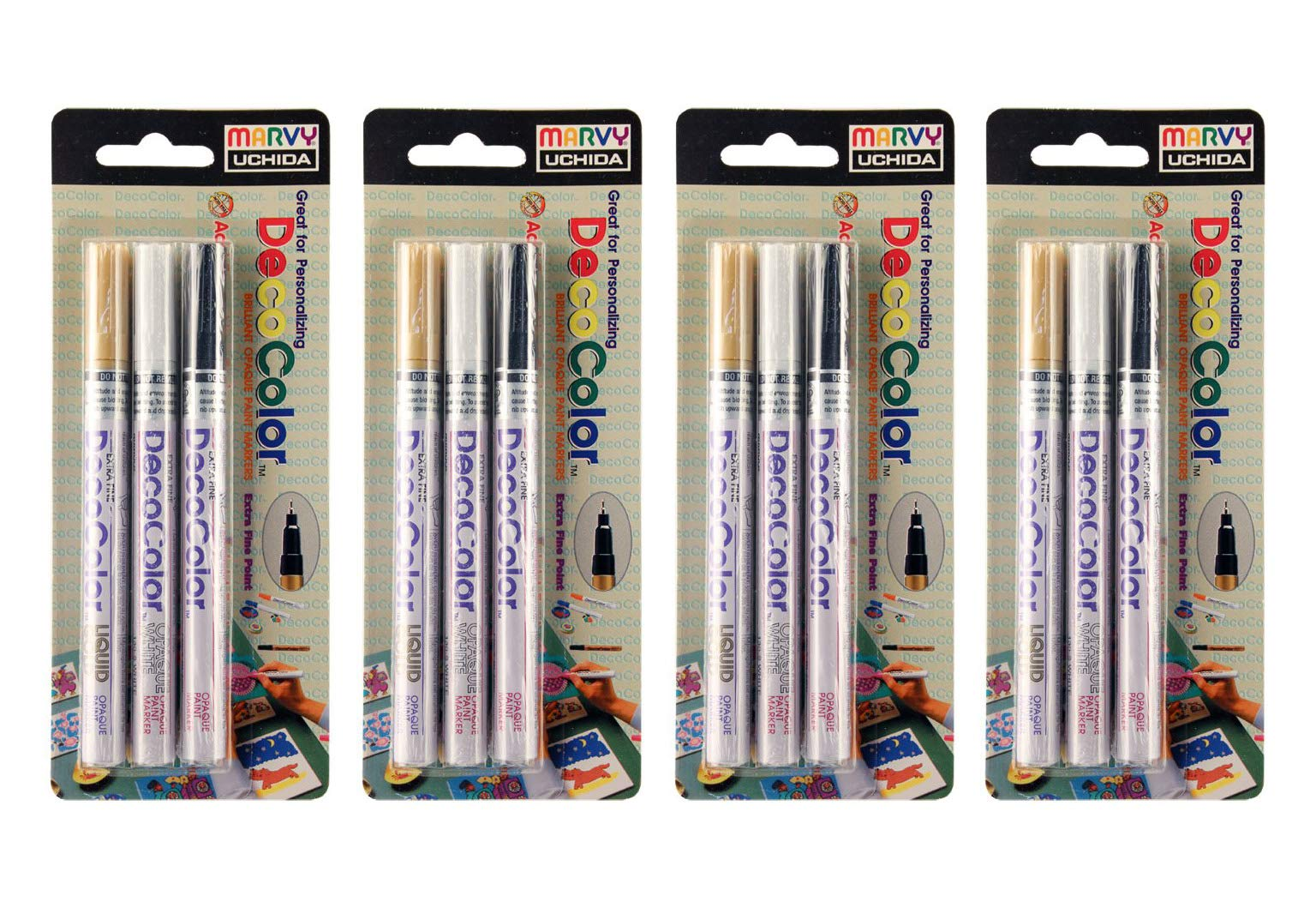 UCHIDA Deco Color Extra Fine Tip Paint Marker Set (Fоur Расk) by UCHIDA