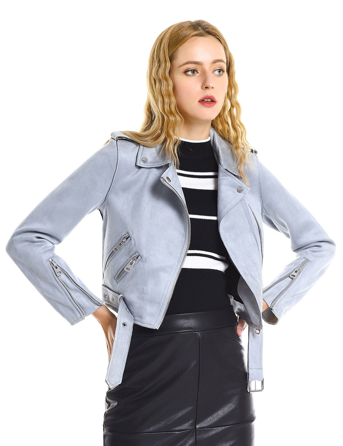 ZAN.STYLE Women Casual Faux Leather Moto Jacket Short Suede Coat with Belt (XL, Blue)