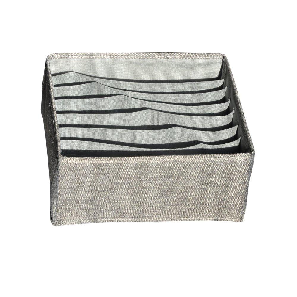 Folding Underwear Storage Box Organizer Closet Dresser Dviders Boxes Bins for clothes underwear bras socks ties scarves (grey, Bra box)