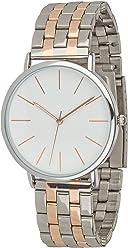 SIX Elegante Moderne Silberne Damen Designer Armbanduhr mit Metall Gliederarmband rosegoldene Details in hochwertiger Gesche (274-340)