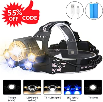 3 X LED Headlamp Flashlight Bright 5-Bulb-Hat Head Light-2 Batteries Inlcuded