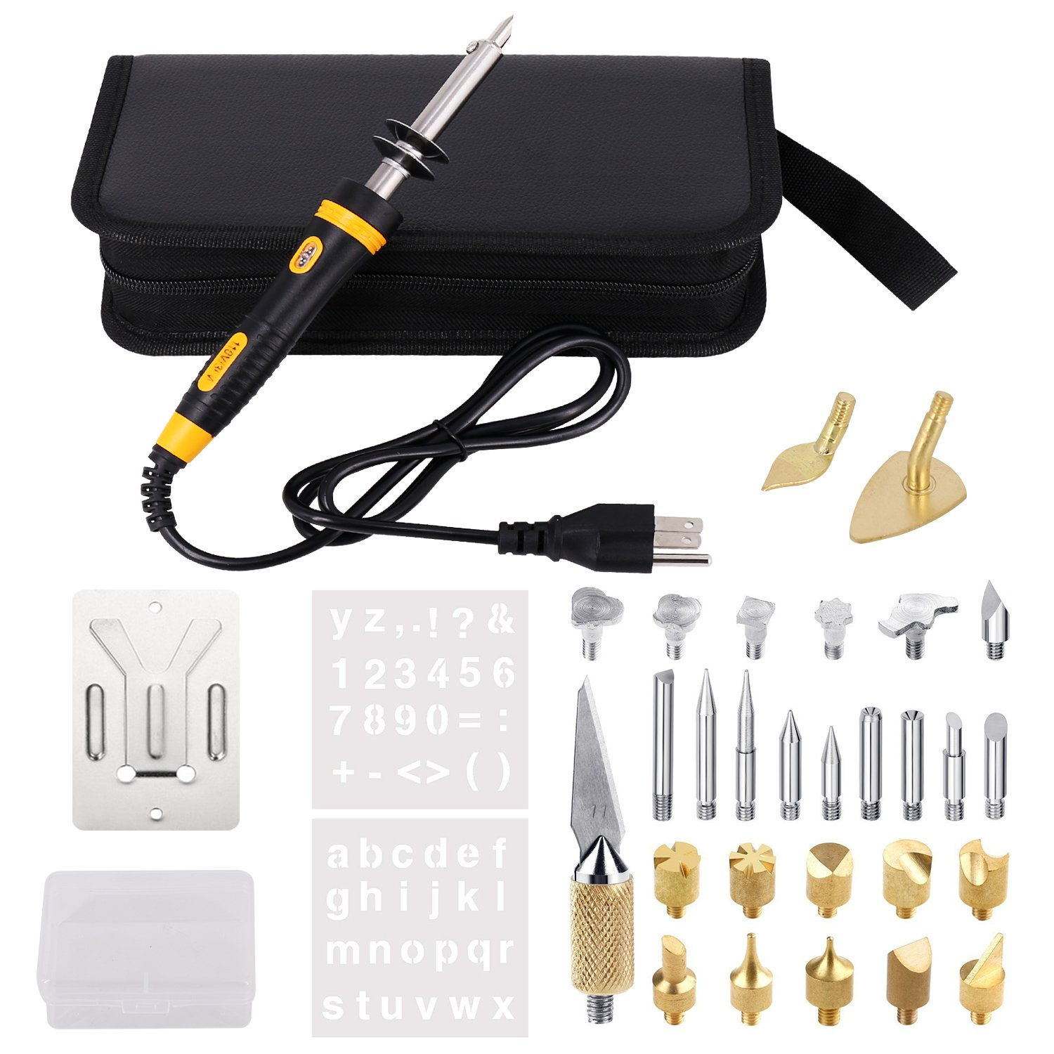 Full Set Wood Burning Kit, Pyrography Pen with LED Indicator light + Various Wood Embossing/Carving/Soldering Tips +Stencil + Stand + Carrying Case (X)