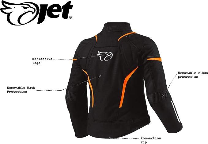 M Jet Motorradjacke Damen Mit Protektoren Textil Wasserdicht Winddicht , Fluro EU 36-38