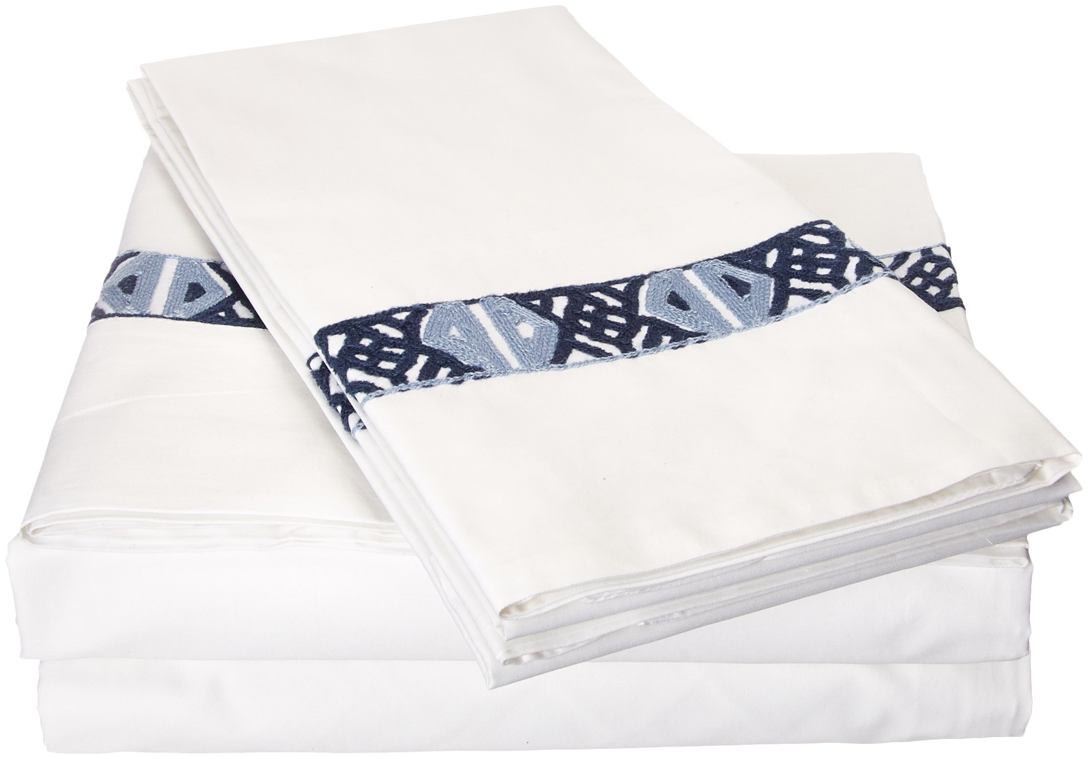 Luxury Bedding Company LBSS0768-AN Sarita Garden Lux-Bed 4 Piece Sheet Set, Queen, White