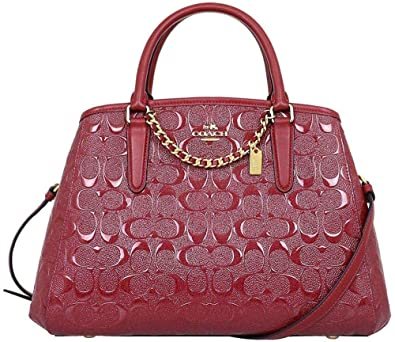 f9a66a607 Coach Small Margot Carryall In Signature Debossed Leather F55451 Dark Red:  Handbags: Amazon.com
