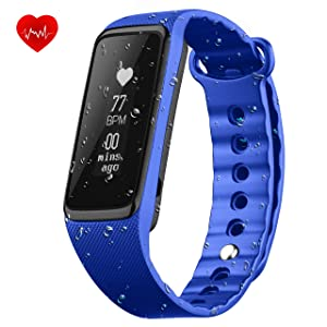 Fitness Tracker with Heart Rate Monitor, OMorc IP68 Waterproof 24-Hour Auto Activity Wristband Bracelet , Smart Bracelet with Walking and Running Pedometer, Sleep Monitor Calories Counter for iOS Android Smartphones (Weloop)-Blue
