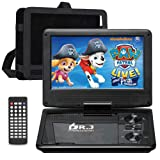 """DR. J 11.5"""" Portable DVD Player with HD 9.5"""" Swivel Screen, Rechargeable Battery with Wall Charger, Car Charger and AV Cable, Sync TV Projector Function, Support USB Flash Drive SD Card, Region Free"""