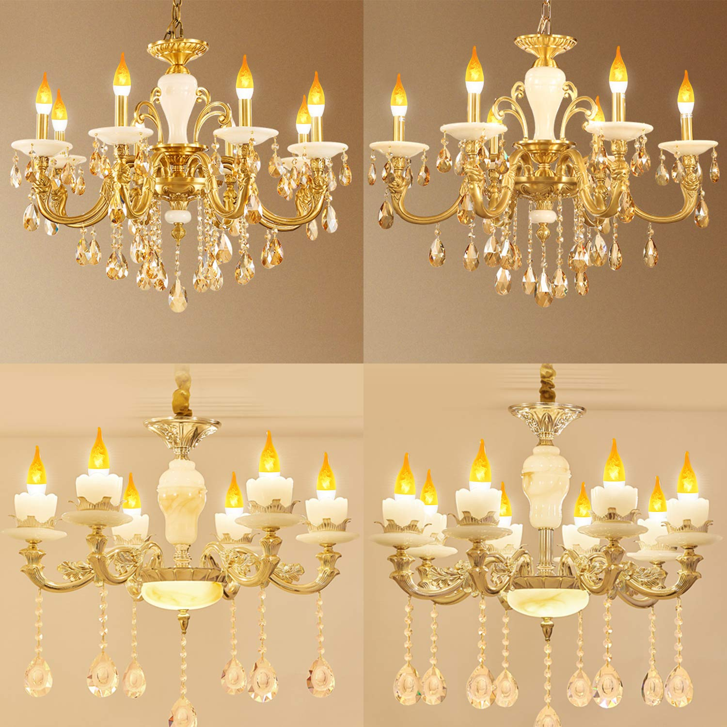 Warm White Siher E12 4 Fire Modes Led Flameless Electric Candle Lights Replacement Bulbs