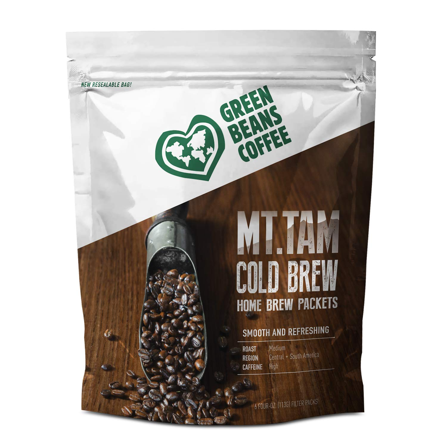 Green Beans Cold Brew Coffee Easy Home Brew Packets - 6 count 4oz Filter Packs by Green Beans Coffee