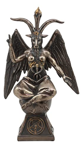 Ebros Eliphaz Levi Sabbatic Goat Baphomet Statue 9.25 Tall Solve Coagula Satanic Idol Worship Figurine Golden Calf Goat of Mendes Decorative Sculpture