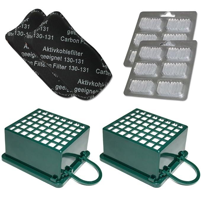 8 Hepafilter 8 Aktiv Kohlefilter geeignet für Vorwerk Kobold VK 130 131