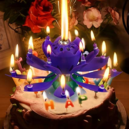 Sinfore 1pcs Amazing Two Layers With 14 Small Candles Lotus Happy Birthday Spin Singing Romantic Musical