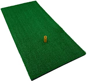 Hit Run Steal Golf Mat with Tee. Perfect for Home Practice in The Backyard or Inside with a net or Simulator. Use with for Full Shots or Chipping.