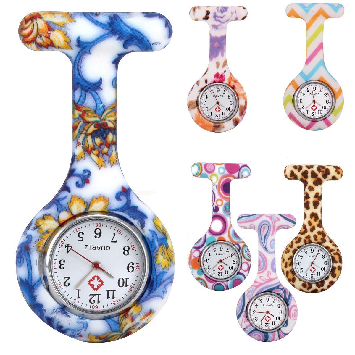 NYKKOLA Nurse Watch Brooch, Silicone/Canvas/Metal with Pin/Clip,Infection Control Design, Health Care Nurse Doctor Paramedic Medical Brooch Fob Watch(6 PCS)