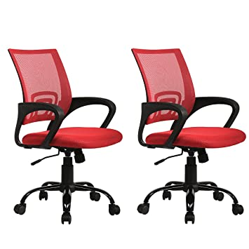 Great Sets Of 2 Ergonomic Mesh Computer Office Desk Task Chair W/Metal Base H12  Red