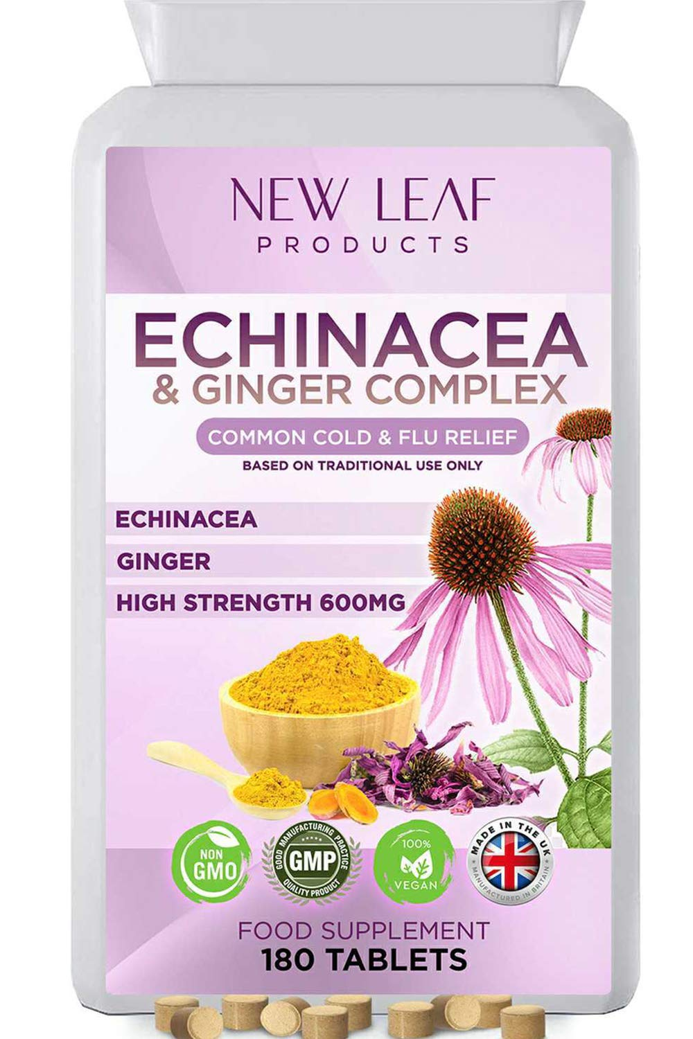Echinacea Tablets One A Day High Strength 6 Months Supply & Ginger Complex for Soothing Relief - Highly Absorbable & Easy to Swallow - Vegan