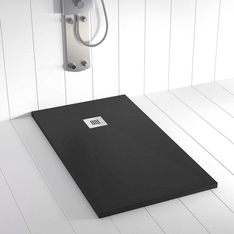 Plato de Ducha PLES Resina Stone Negro - 140x100 cm: Amazon.es: Hogar