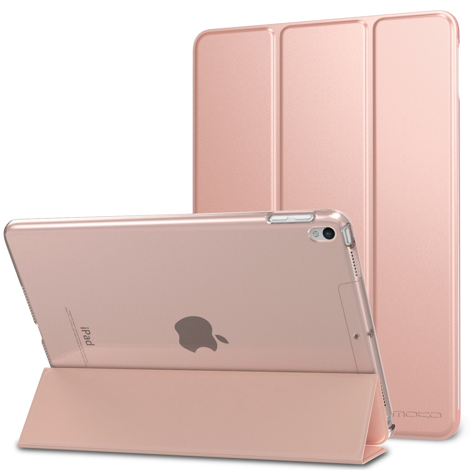 Moko Case for iPad Pro 10.5 - Slim Lightweight Smart Shell Stand Cover with Translucent Frosted Back Protector for Apple iPad Pro 10.5 inch 2017 Released Tablet, Rose Gold (Auto Wake/Sleep)