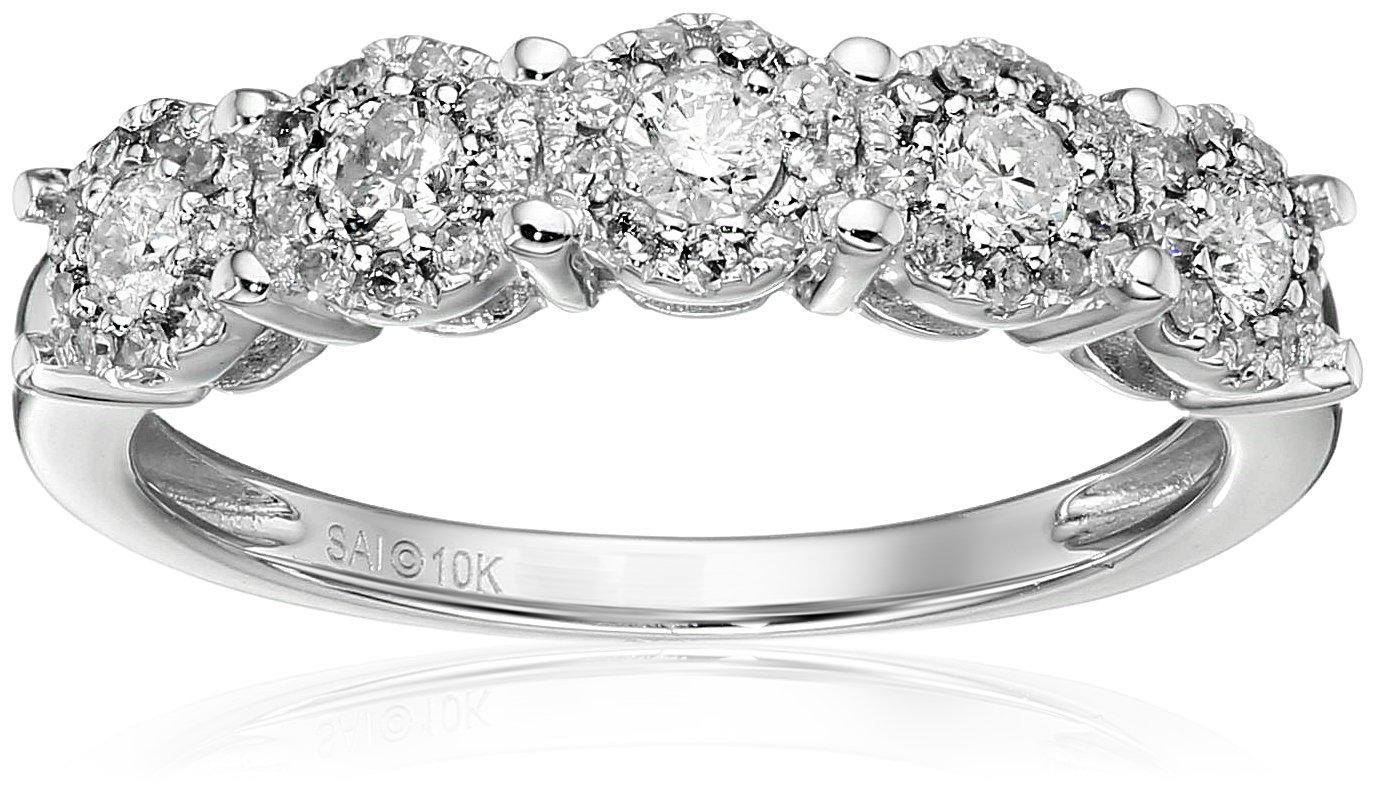 10k White Gold 1/2 cttw Diamond Anniversary Ring, Size 7