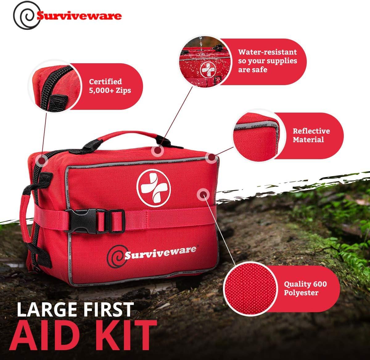 maison l Rouge Surviveware Large First Aid Kit /& ajouté Mini Pour Famille