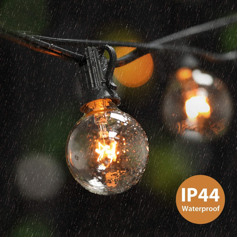 Lichterkette Au/ßen Qomolo Lichterkette Gl/ühbirnen Aussen G40 35er Birnen Garten Beleuchtung f/ür Innen und Drau/ßen mit Ersatzbirnen 11 Meter Warmwei/ß Energieklasse A+